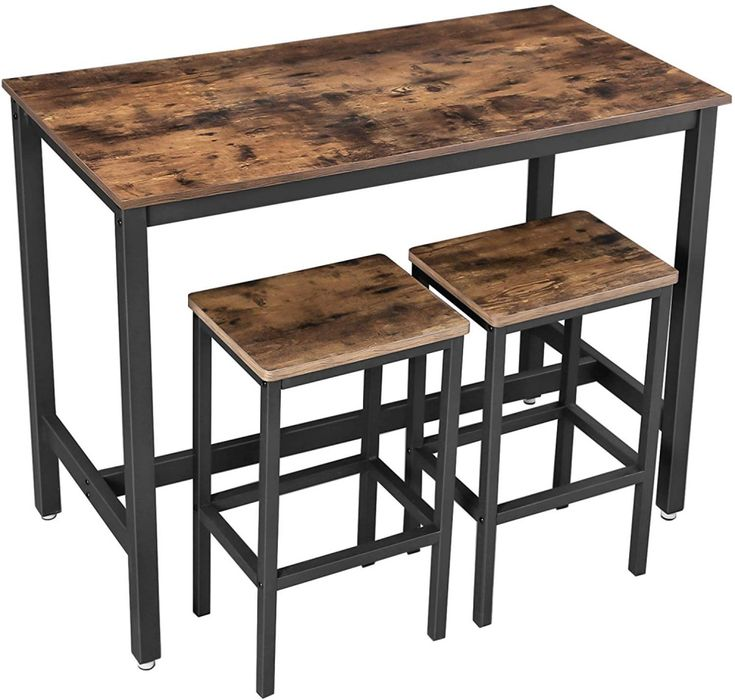 Tavolo Bar Bancone + 2 Sgabelli Stile Industriale da