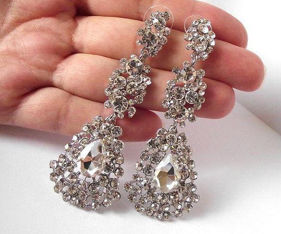 Vintage Style Bridal Earrings Rhinestone Chandelier