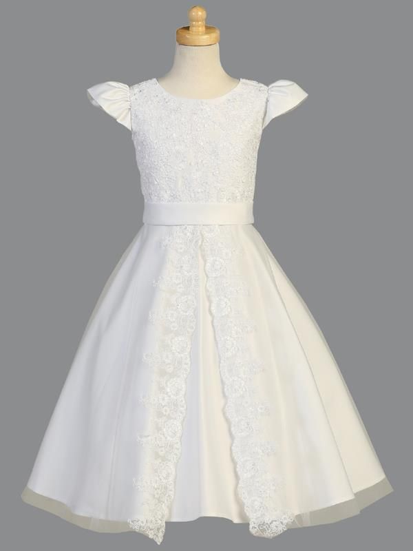 (5 Tea Length, White) This First Communion dress is one of the most timeless, elegant and classic styles offered this season! The corded lace appliqued bodice has the most darling puckered cap sleeves. A plain white satin band accents the waistline and leads into the most stunning split front overlay skirt that is lined with elegant corded lace appliques. *Please note that this dress may need additional shipping time between 5-7 days from the date your order is placed. --> Top Tip! These…