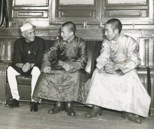 14th Dalai Lama , 10th Panchen Lama and Prime Minister of India Jawaharlal Nehru. Beijing China 1954