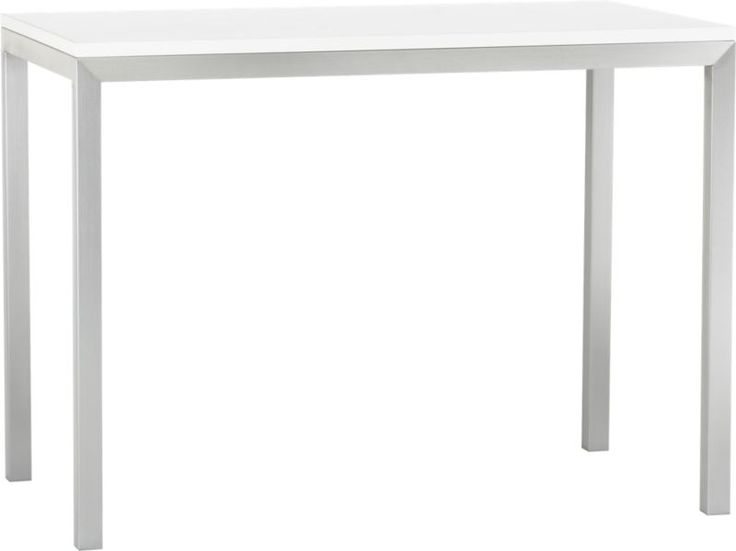 Parsons White Top 48x28 High Dining Table With Stainless Steel Base In  Dining Tables | Crate