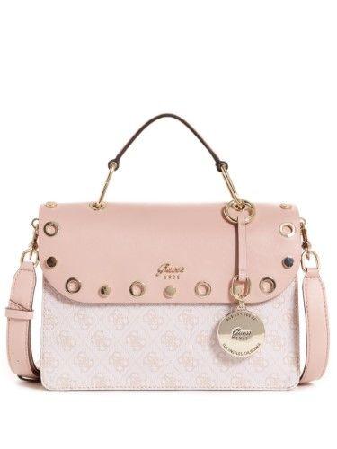 GUESS NUDE PINK Logo Signature Jacqui Tote Bag Shoulder