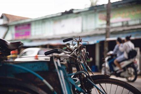bicicleta, ciudad, motocicleta, urbano
