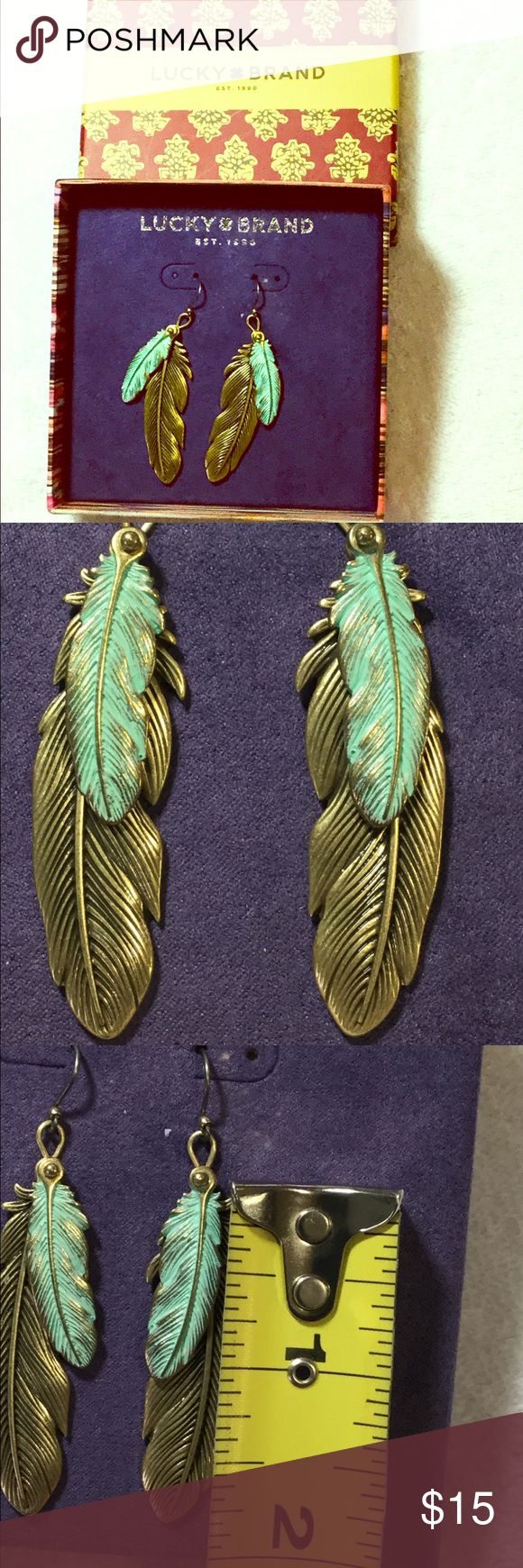 Lucky brand boho feather festival earrings Lucky brand boho metal feather earrings. Brand New!  Antique gold finish and painted turquoise metal. Perfect for upcoming festivals, Coachella, free spirits, and summer time fun! Lucky Brand Jewelry Earrings