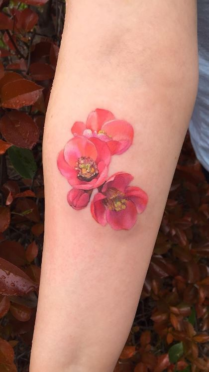 Japanese Quince Flowers Tattoo