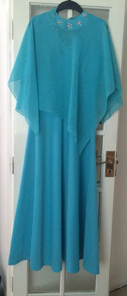 Vintage 1970s Turquoise Maxi Dress, With Cape, UK Size 12