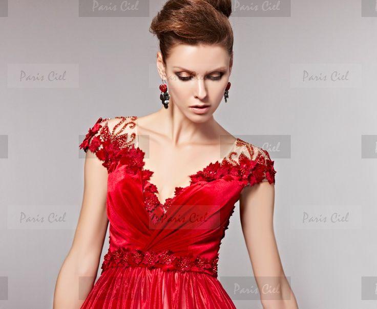 Abendkleider  Lang Zarte Rot V-Ausschnitt  |  Paris Ciel