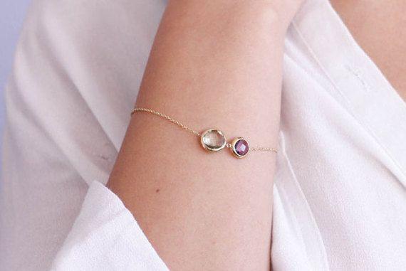 Purple and green amethyst bracelet, multicolor natural gemstones, 14K gold, elegant bracelet, birthday gift, gift for women, GB0279
