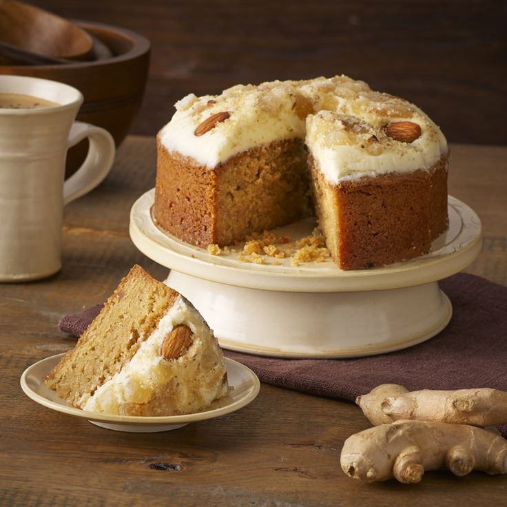 A delicious and light cake made with ground almonds, stem ginger and a dash of ginger wine.