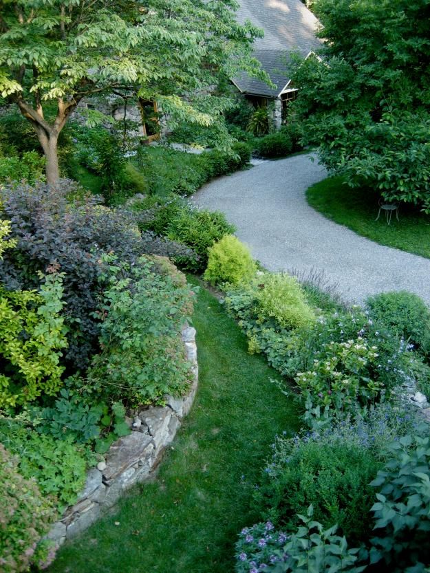 Driveway with raised beds