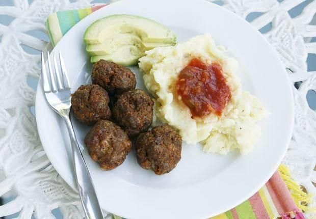 Spicy Taco Meatballs with Cheddar Mashed Potatoes and Avocado | Recipe