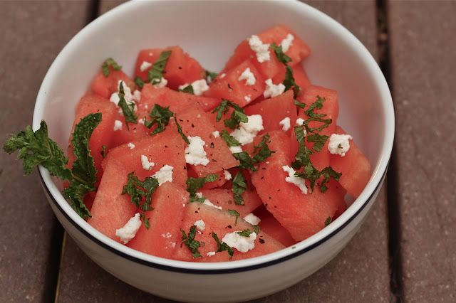 ... salad with feta and toasted almonds watermelon feta salad with mint