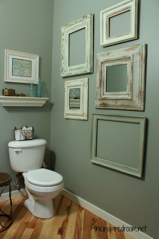 Bathroom : 43 Brilliant Ideas for Updating Bathrooms On A Budget - Powder Room Makeover on A Budget with Cool Wall Photo Frame and Wooden Floor medium version