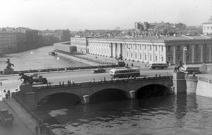 р. Фонтанка.  Аничков мост.  1953 г.