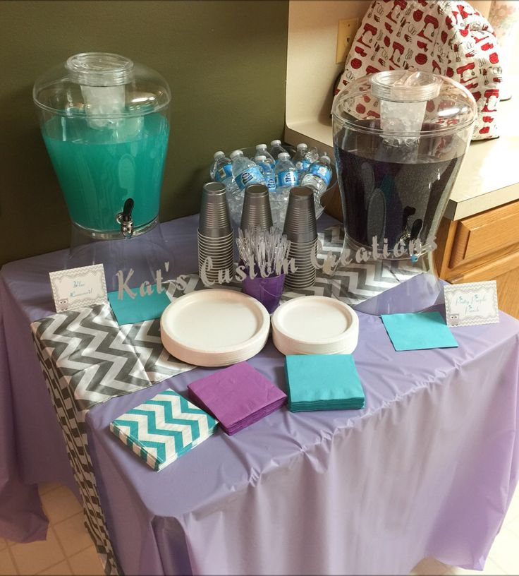 Lavender, Turquoise, And Gray Chevron Baby Shower Drink