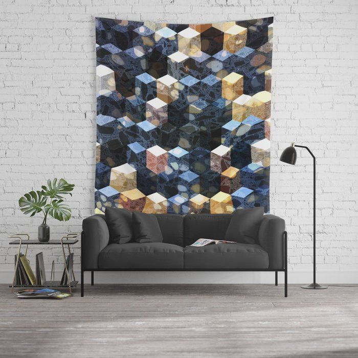 Buy Art Deco Terrazzo Cube Pattern Abstractart Pattern Wall Tapestry By Dominiquevari Worldwide Shipping Available At Cube Pattern Art Deco Wall Tapestry