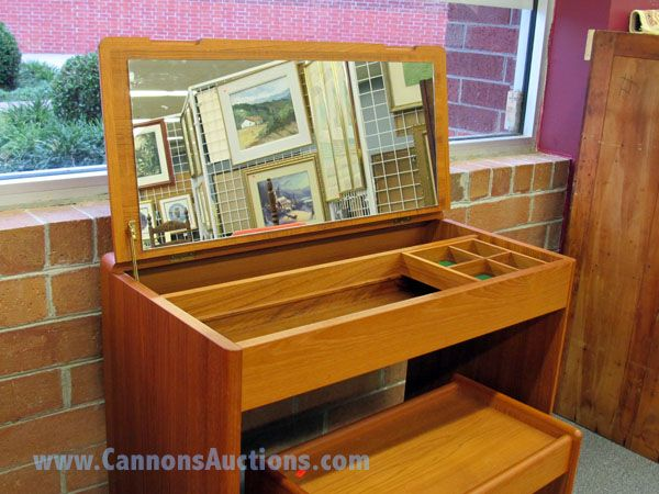 Modern norwegian teak vanity with matching stool hinged cover with mirror and fitted interior - Selig z chair reproduction ...