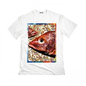 Rockfish T-shirt! This is a short-sleeved Tee in white. Exclusively designed and digitally screen printed at Taboo.  In a size medium this T-shirt measures 52 cm Width, 75.5 cm Height. The sleeve lenght is 23 cm.  #rockfish
