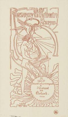 Bookplate by Sándor Nagy for Rozsnay Kálmán, 1905