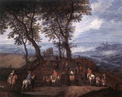 Travellers on the Way.  BRUEGHEL, Jan the Elder (b. ca. 1568, Bruxelles, d. 1625, Antwerpen)