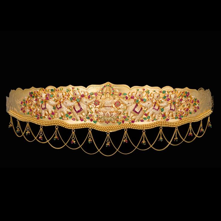 Indian Jewellery and Clothing: Vaddanam/waist belt/kamar patta/oddiyanam studded with rubies and emeralds..