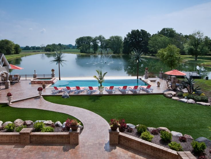 Natural U0026 Modern Pool Design By Classic Pool U0026 Patio With Attached Gunite  Spa And Vanishing  Classic Pool Designs