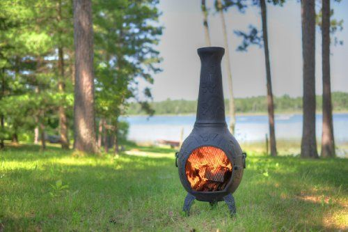 Blue Rooster - ALCH017GK-CH - Butterfly Cast Aluminum Chiminea w/Gas Kit - Charcoal - Large by Blue Rooster. $579.95. Gas Kit with 7 Ceramic Logs. Safe Single Opening Traditional Chiminea. Image May Vary - Please See Product Title for Actual Size and Color!. Non-Rusting Solid Cast Aluminum Alloy Body. Detailed Butterfly and Leaf Design. Delightful butterfly motif also included in the grill for imaginative seared 'Butterfly' steaks. This full-size outdoor chiminea makes...