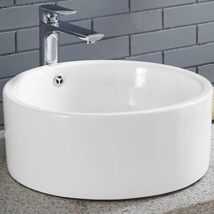 Monaco Ceramic Circular Vessel Bathroom Sink With Overflow Bathroom Sink Sink Wall Mounted Bathroom Sinks