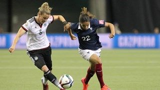 Simone Laudehr of Germany challenges Amel Majri of France