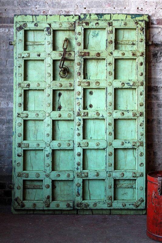 Antique Indian Door Set Teak Wood Turquoise Green Haveli Doors Global  Influenced Decor Indian Furniture Moorish - Best 25+ Indian Doors Ideas On Pinterest Unique Doors, Cool