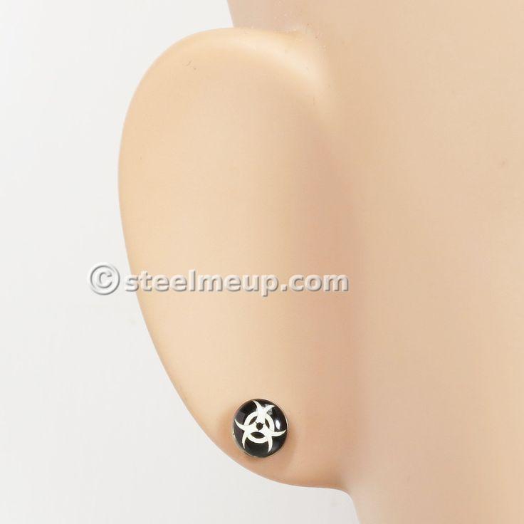 Pair Stainless Steel Round Biohazard Sign Post Stud Earrings 7mm