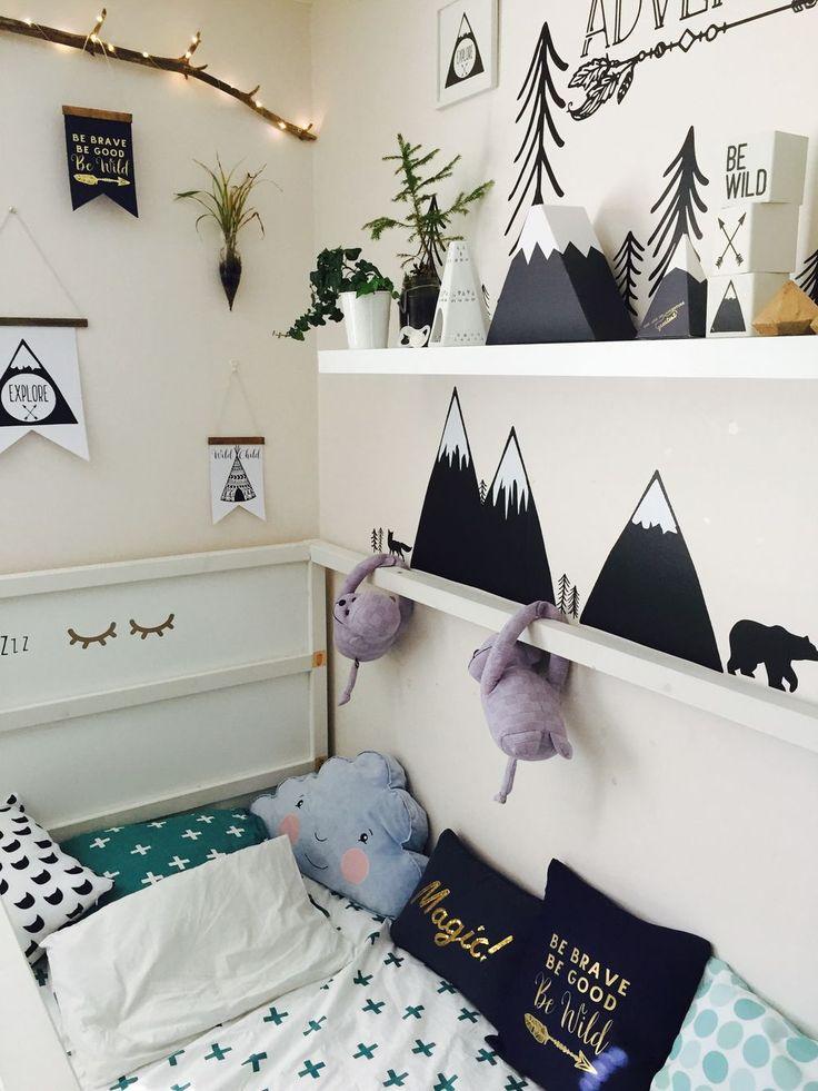 ALKEMISTEN DIY - barnrum childrens room kids room mountain berg räv fox bear kudde pillow inspiration