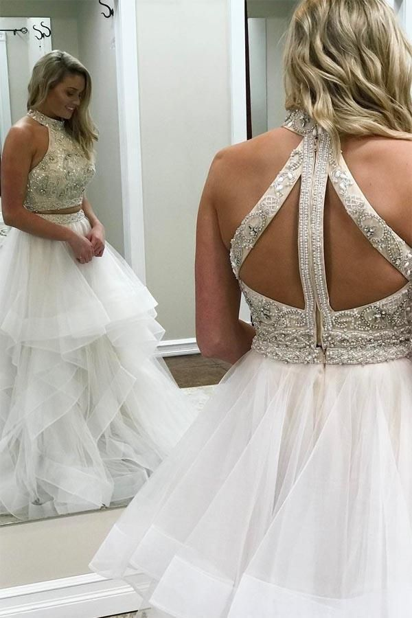 3a8dad8042 Buy A line Ivory Beads Halter Ruffles Prom Dresses