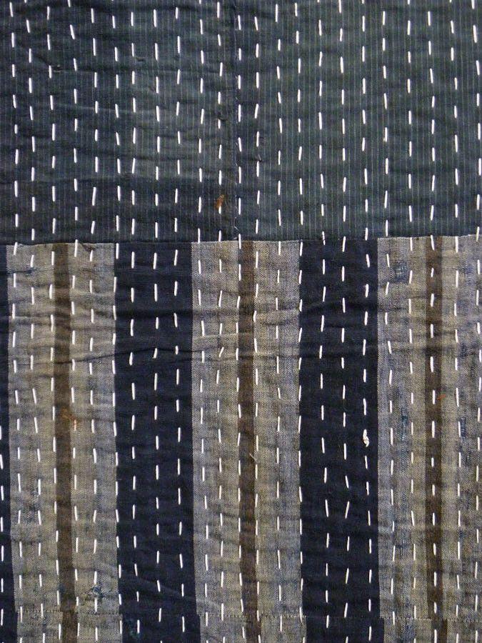 Sri   A Wonderfully Sashiko Stitched Coverlet: Piece Constructed