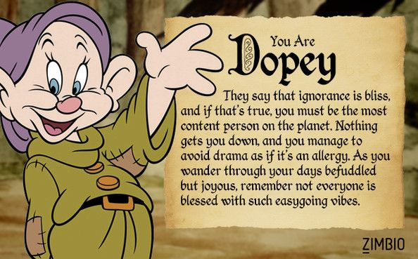 Dopey - Which of 'Snow White's' Seven Dwarfs Are You? - Zimbio