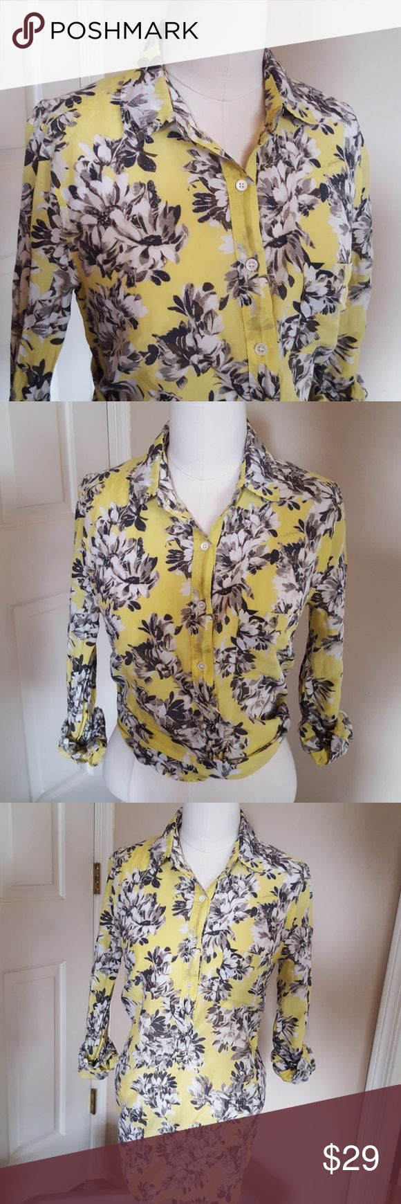 J.Crew floral button down Lemon yellow background with a gray and white floral print. Long sleeves. Collared with button down to waist. Small left breast pocket. 100% cotton...unbelievably soft. Excellent condition. J. Crew Tops Button Down Shirts