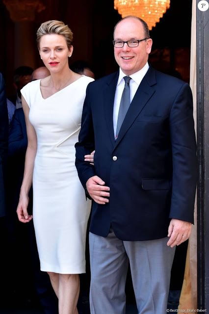 Royals & Fashion - Prince Albert and Princess Charlene attended the draw for the qualifying tournament rugby Sevens for the Rio Olympics to be held in Monaco in June.