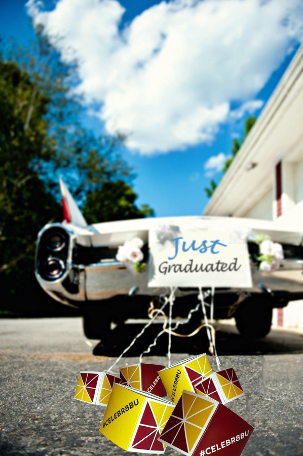Just Graduated! Time to #Celebr8BU: Crafty Stuff, Bachelorette Things, Crafts Ideas, Dreams, Just Marry Cars, Getaways Cars, Cards Boxes, Just Married Car, Tins Cans