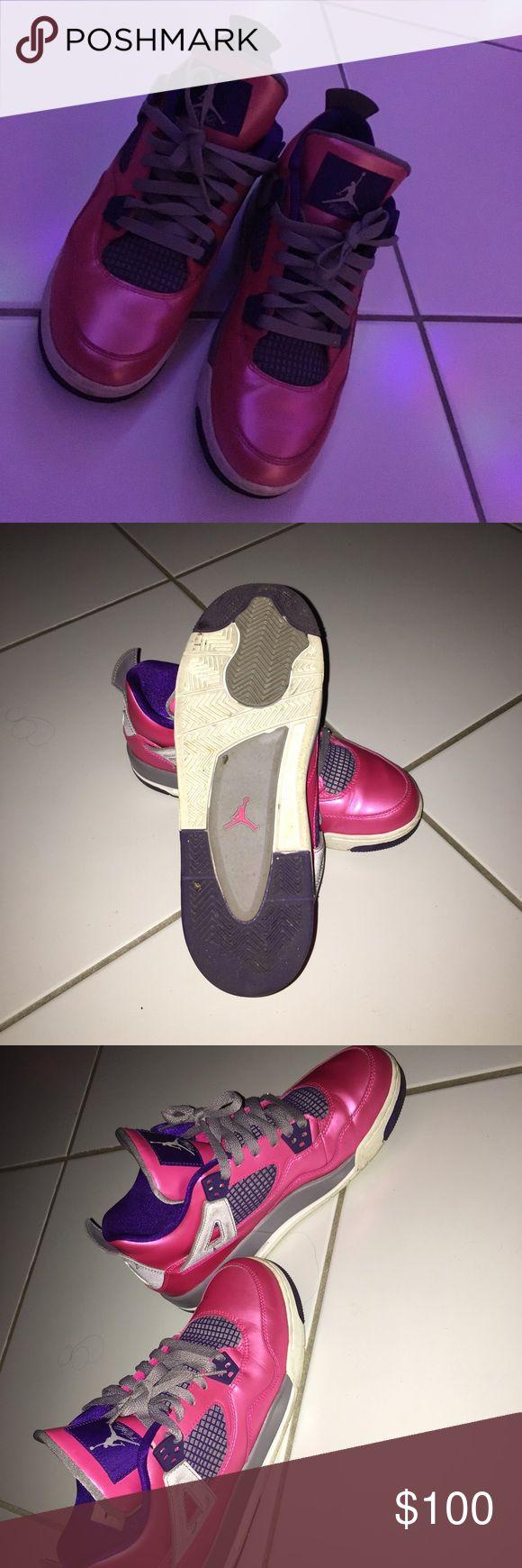 Air Jordan 4 Retro GS - Pink/Purple-Grey Original air Jordan's Worn 2-3 times since purchased Jordan Shoes