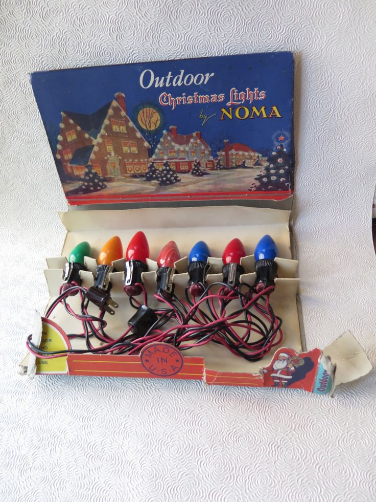 Noma Christmas Lights Working Condition 1930s String of Seven Original Box Red Green Blue Gold Coral by stonebridgeworks on Etsy