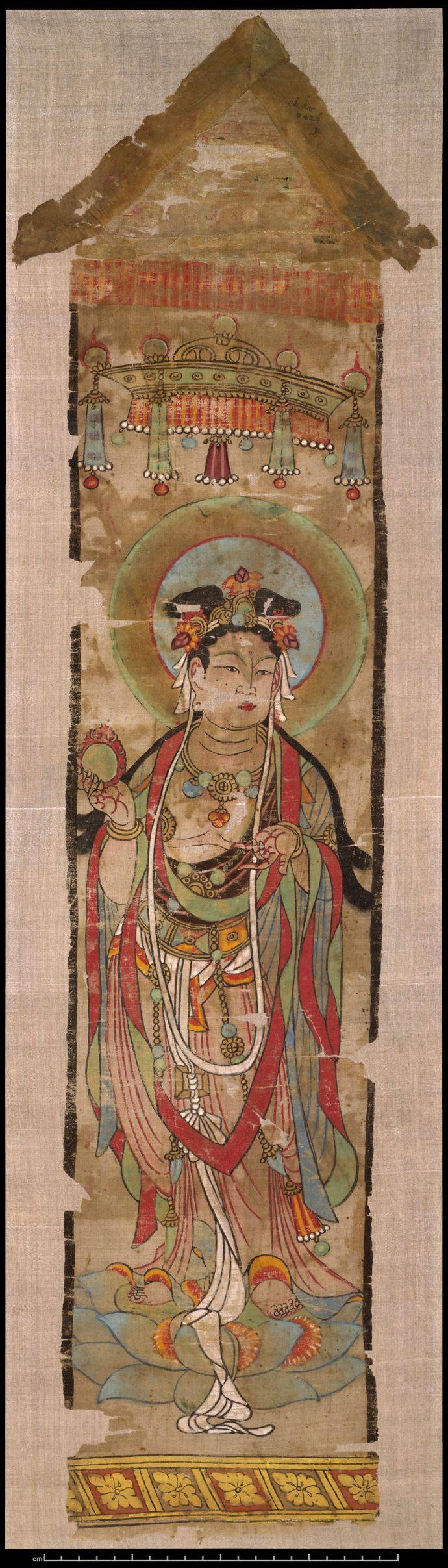 大英博物館收藏斯坦因敦煌繪畫 九世紀末絹本設色尺寸:71 x 17.5 cm