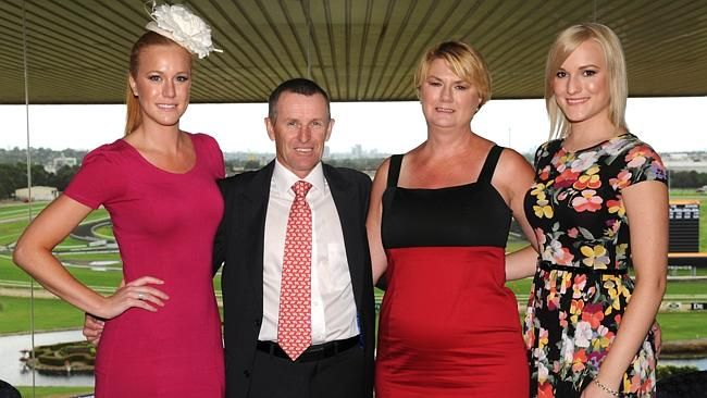 Jockey Rod Quinn flanked by daughter Ashleigh, wife Allanah and other daughter Rebecca at Rosehill Gardens. Picture: Simon Bu...