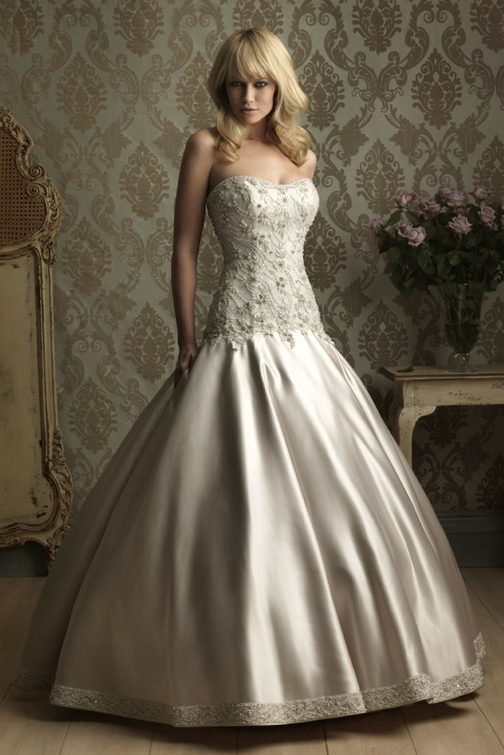 Ball Gown Strapless Cathedral Train Satin Wedding Dress with Beadings