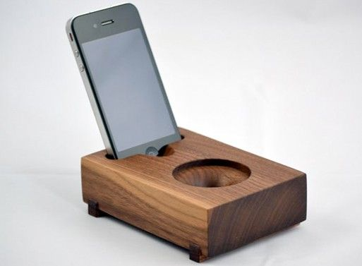 Koostik Mini Koo iPhone Speaker.  Completely acoustic: no electricity involved.