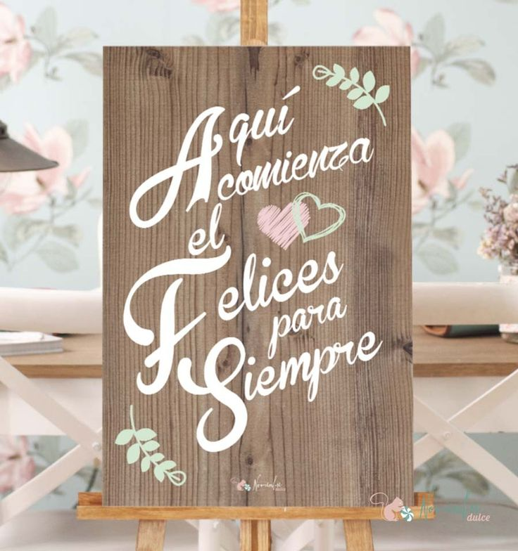 "Cartel de Madera""Aqui comienza el felices para siempre"". Cartel para bodas. Wood advert for weddings"