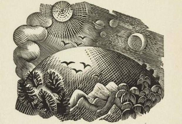 'Untitled (Sun and Moon over Hill)', one of Ravilious' woodcuts.