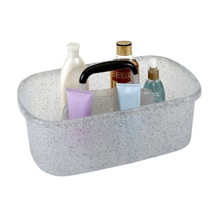 This Shower Caddy has a unique design made of sturdy polypropylene plastic with sections for all of your bath accessories. Onesturdy handle makes it easy to carry tote around from one place to another, and the draining holes on the bottom make it so water does not build up in the tote inbetween uses. It has a lightweight design and holds a multitude of items, organizing and de-cluttering bathrooms and dorms.