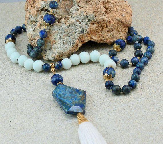 Boho Tassel Necklace  Bracelet  108 Bead Mala  by MMDJewellery