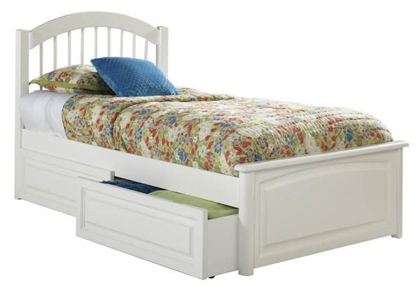 windsor white solid wood twin bed wraised panel footboard