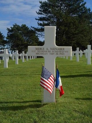 Merle A. Nienaber Second Lieutenant, U.S. Army Air Forces 333rd Bomber Squadron, 94th Bomber Group, Heavy Entered the Service From: Michigan Service #: O-801633 Date of Death: November 26, 1943 World War II Buried: Plot D Row 13 Grave 42 Normandy American Cemetery Colleville-sur-Mer, #France Awards: Purple Heart